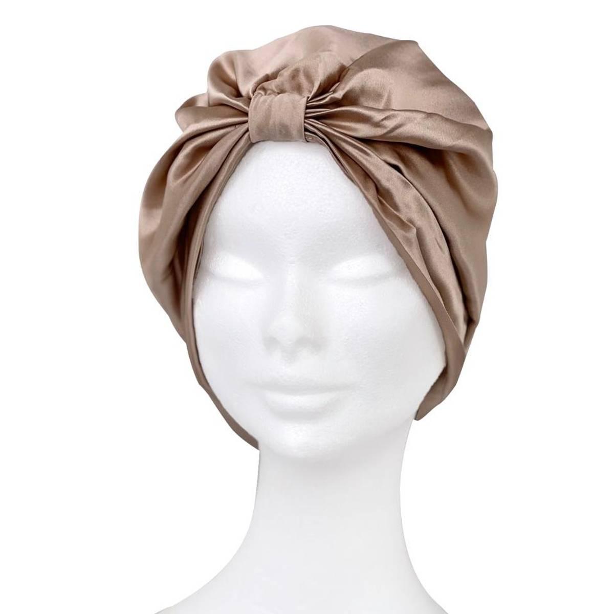Sove turban i silke-champagne