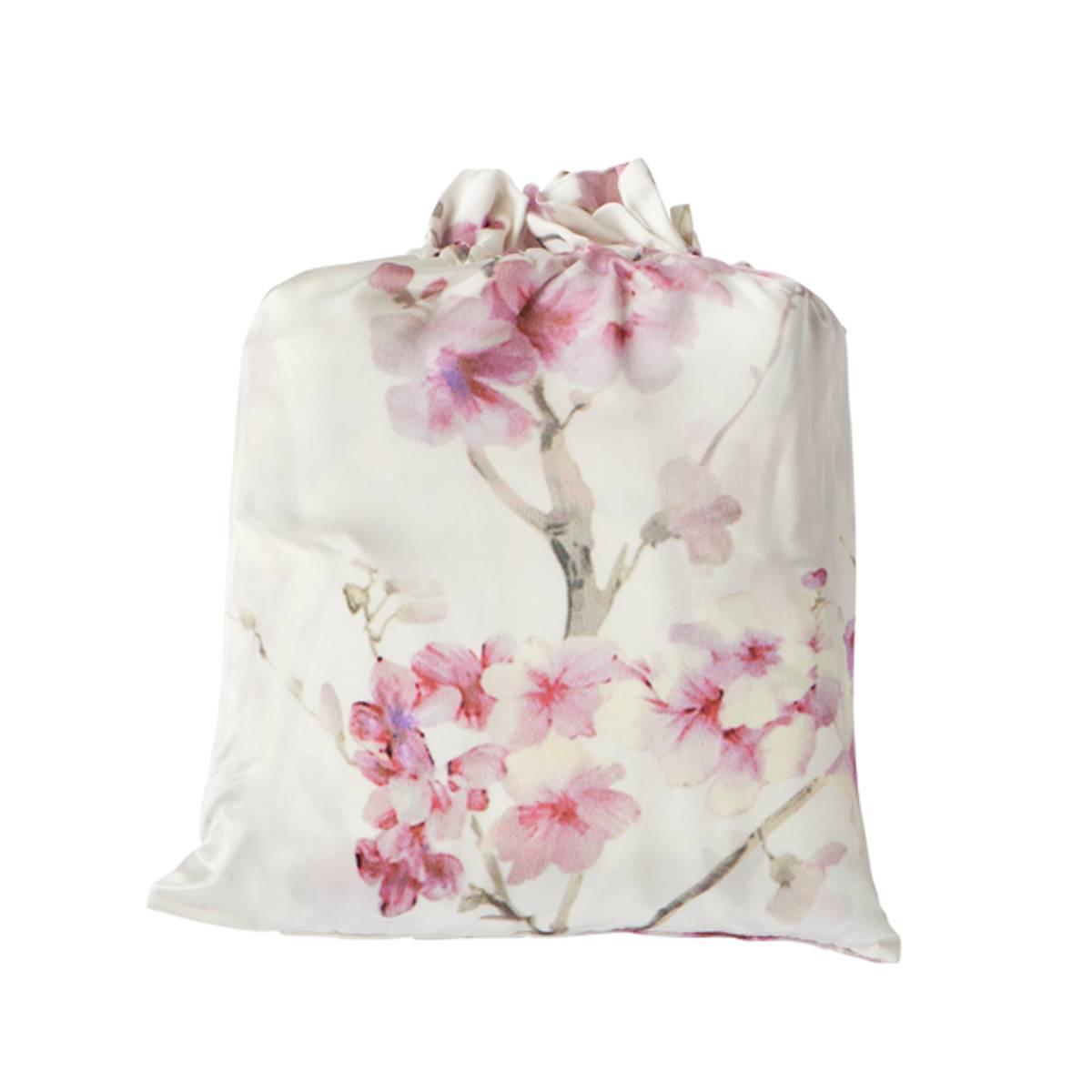 Dynetrekk i silke - rosa print