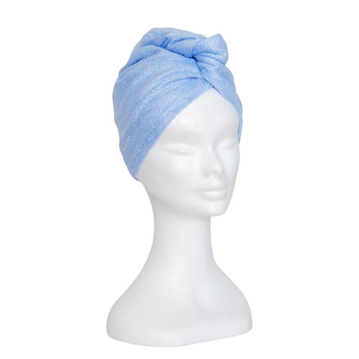 Bambus hårhåndkle - lys blå